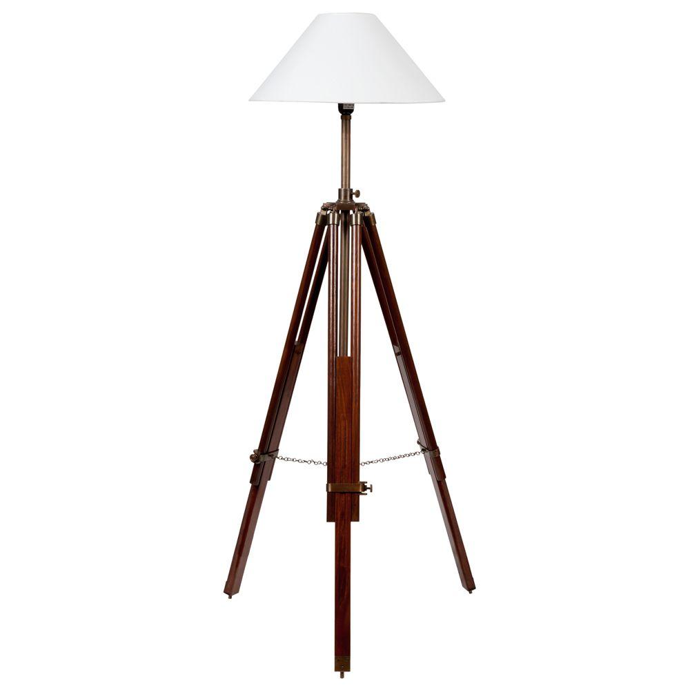 Lampadaire tr pied en bois et tissu blanc H 143 cm