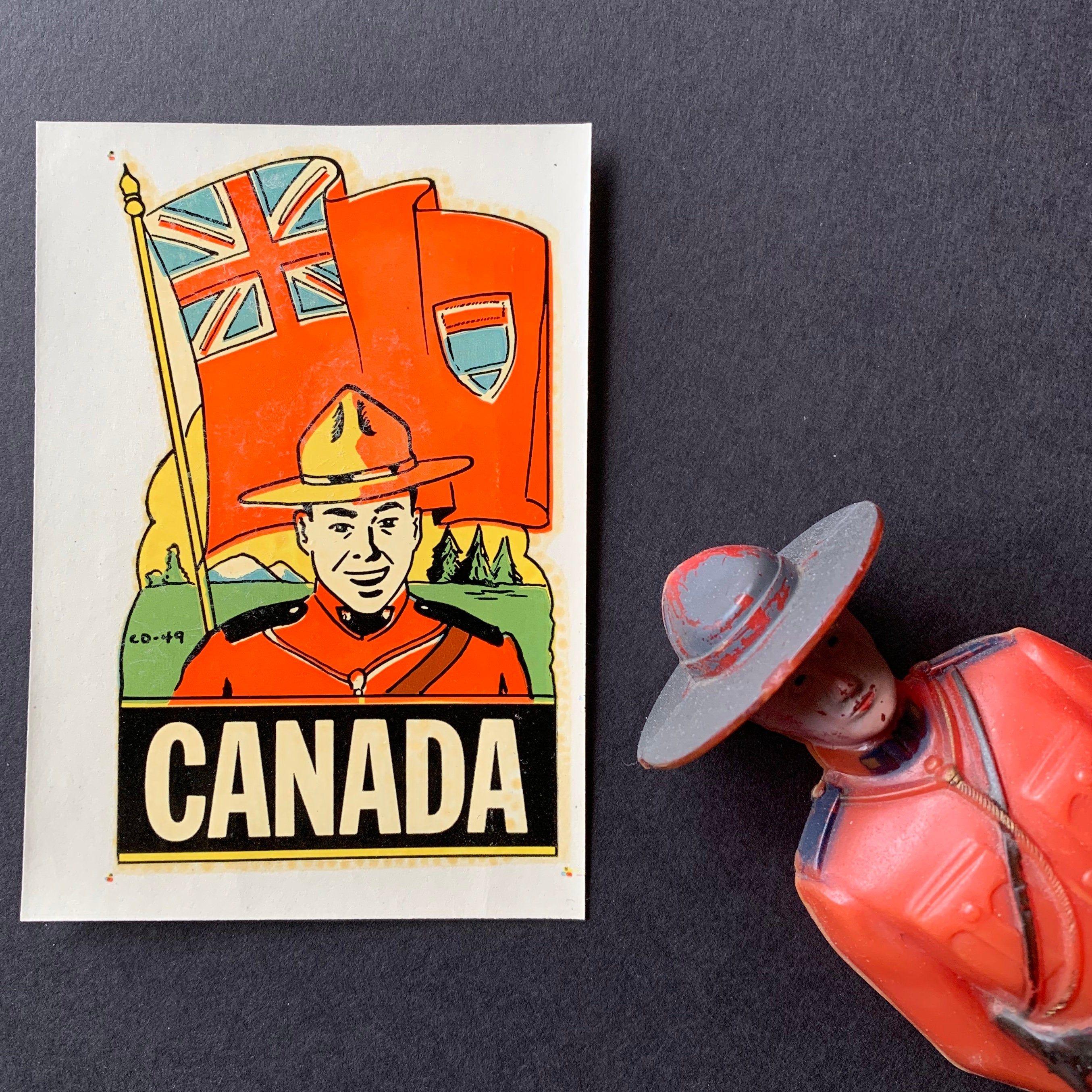 1951 Vintage Canada Mountie Water Decal / 1950s Retro