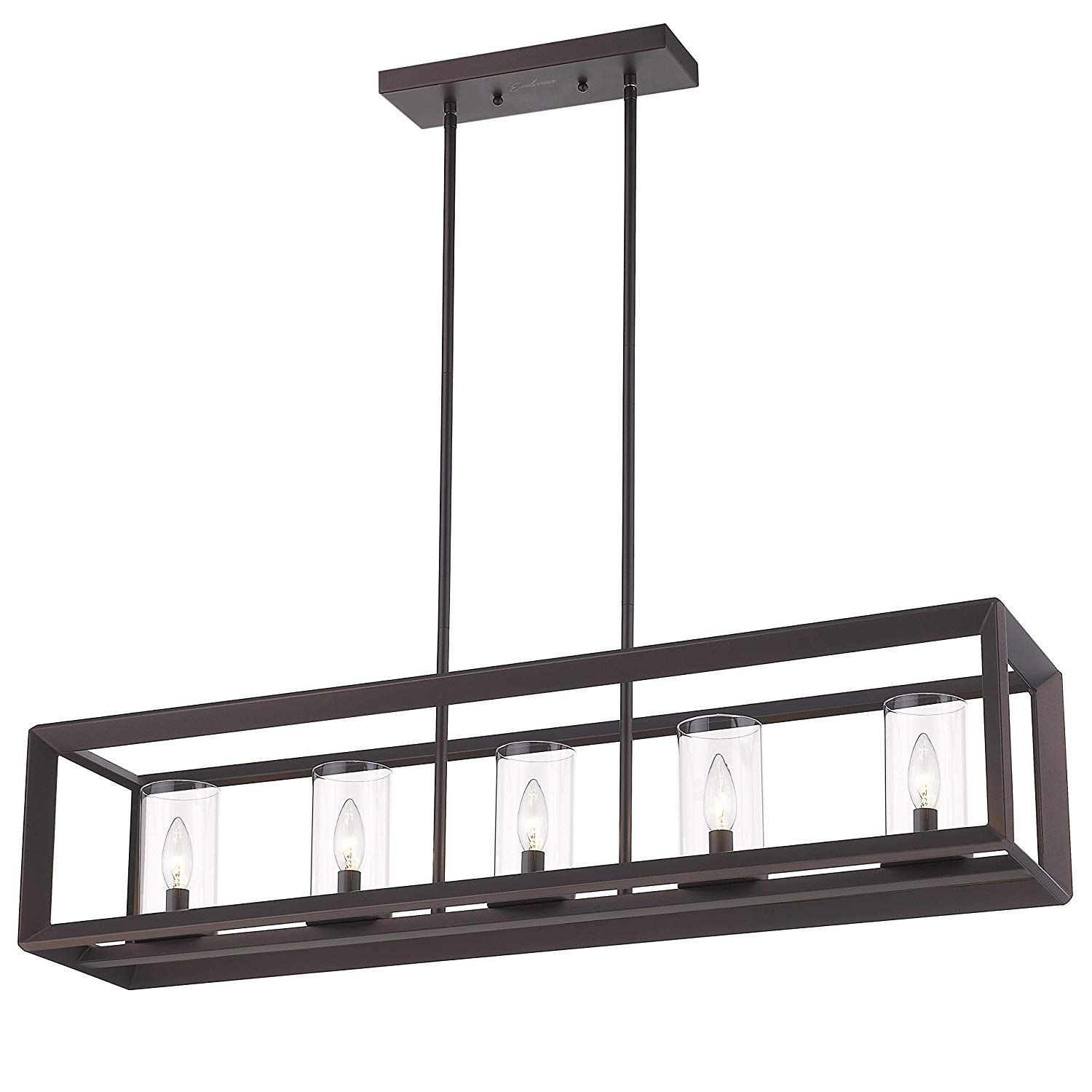 5 light kitchen island lighting modern domestic linear pendant light fixture oil rubbed bronze finish with clear glass shade