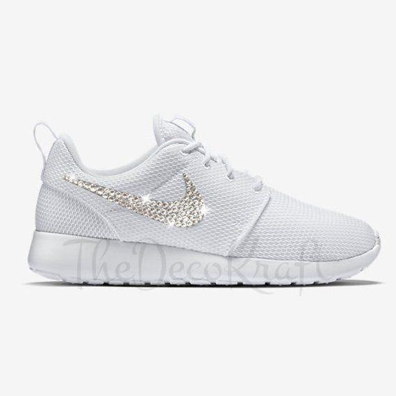 pretty nice 8eac6 f8e25 Custom Bling Womens Nike Roshe One White Swarovski Crystal Bling Sneakers, Running  Shoes, Tennis Sho