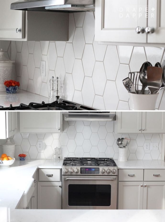 Best 80′S Kitchen Update Gray Kitchen Elongated Hex Tile 640 x 480
