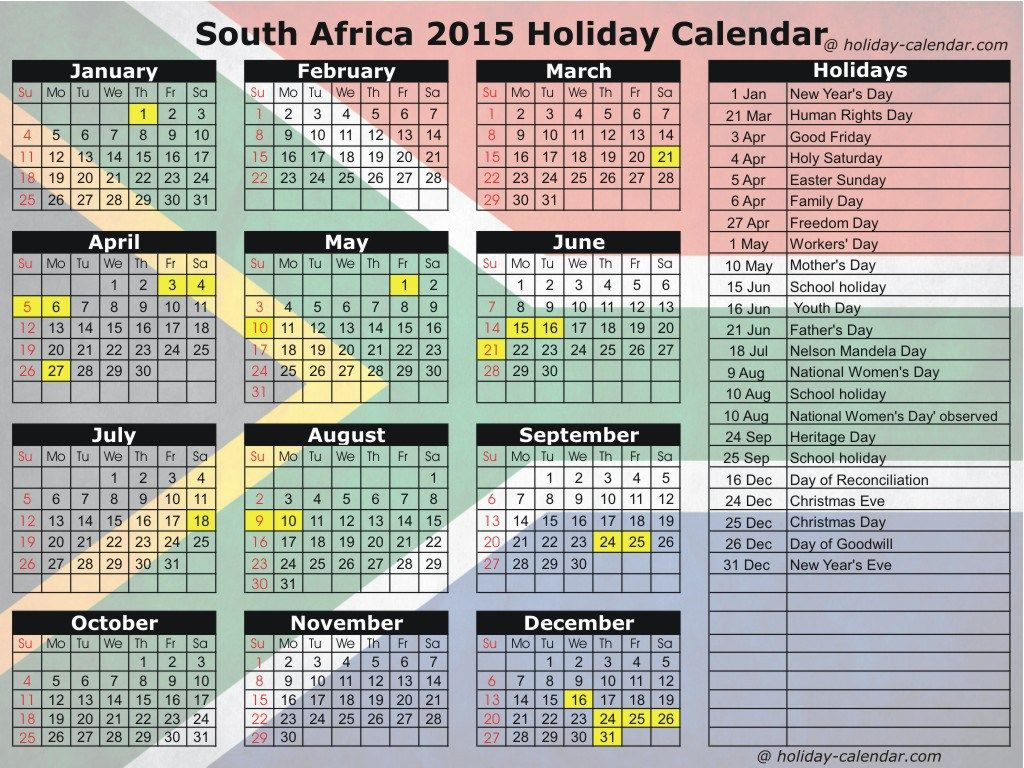 2016 Calendar with Holidays Word South Africa 2016 Holiday