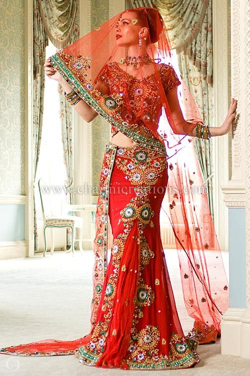 Traditional red indian wedding dresses indian wedding for Red indian wedding dress