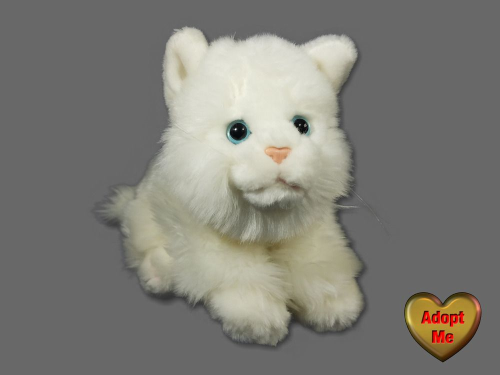 Toys R Us Stuffed Plush Animal Alley Fluffy White Kitty Cat Kitten