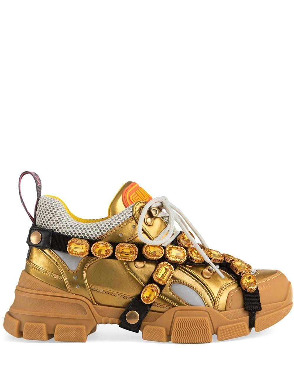 462d8c77af227 GUCCI GUCCI FLASHTREK LEATHER SNEAKER WITH CRYSTALS - GOLD.  gucci  shoes