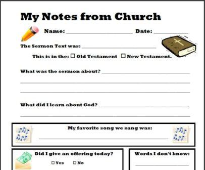 Forest Baptist Church » Sermon Notes Worksheet: For Kids!!!!! | Kids