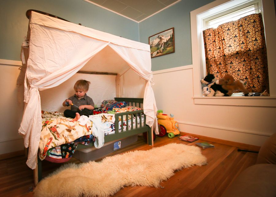Converting a toddler bed into a wall tent using upcycled materials. & Converting a toddler bed into a wall tent using upcycled materials ...