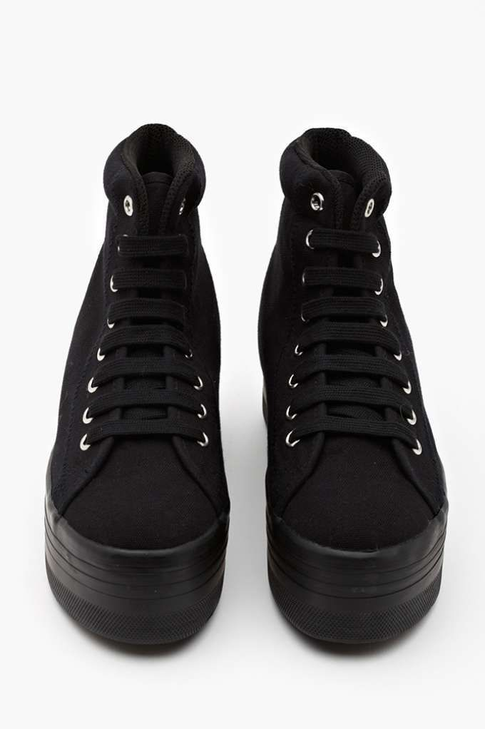 Homg Platform Sneaker - Black - Sneakers | High-Tops | Jeffrey Campbell | Back In Stock i want these with an undieable passion
