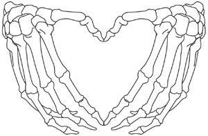 Open skeleton hands form the shape of a heart. Downloads