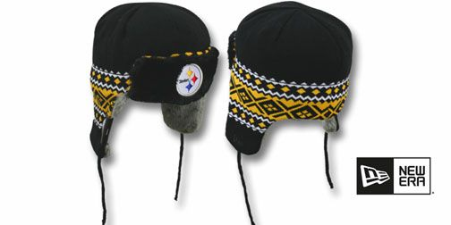 52bdc0fe4 Steelers TRAPPER Black Knit Hat by New Era on hatland.com | KNIT ...