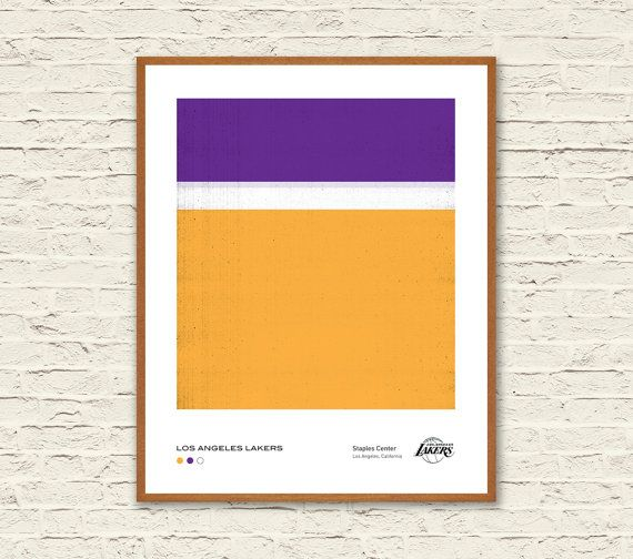 LOS ANGELES LAKERS: Pantone Minimalist Poster. Downloadable Art Print.  Inspired by NBA Team Jerseys + Rothko + Pantone Color Chart, this