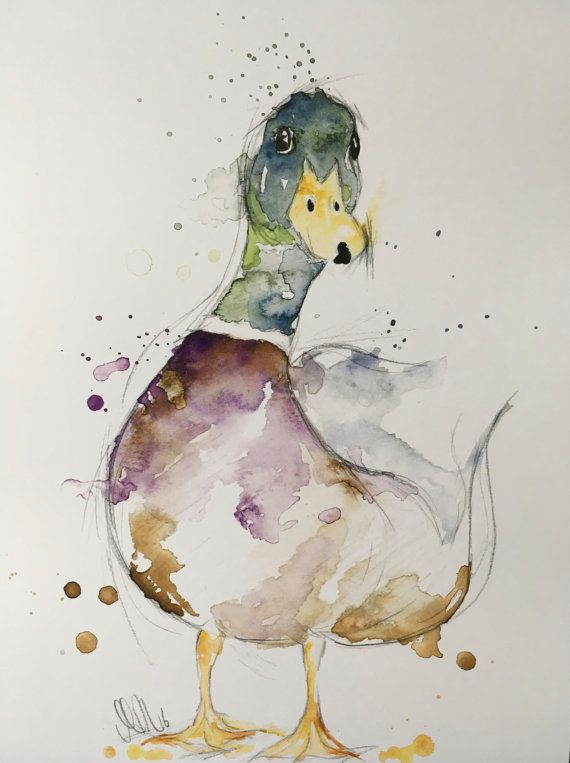 Canard colvert crayon et aquarelle impression par artbyheathershop aquarelles pinterest - Canard dessin facile ...
