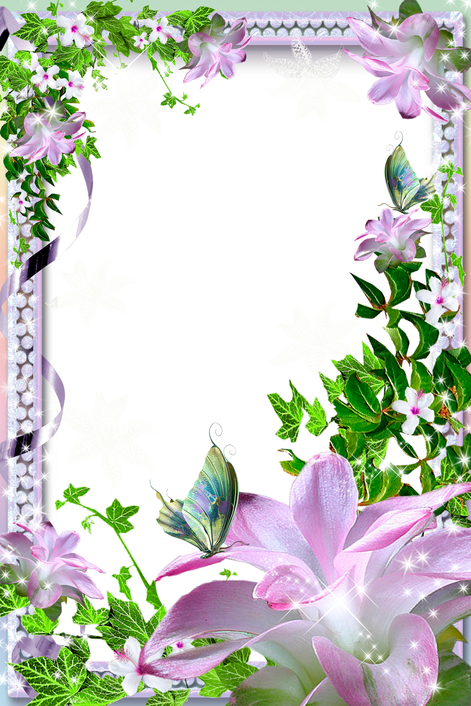 Transparent PNG Photo Frame with Pink Lilies Flower