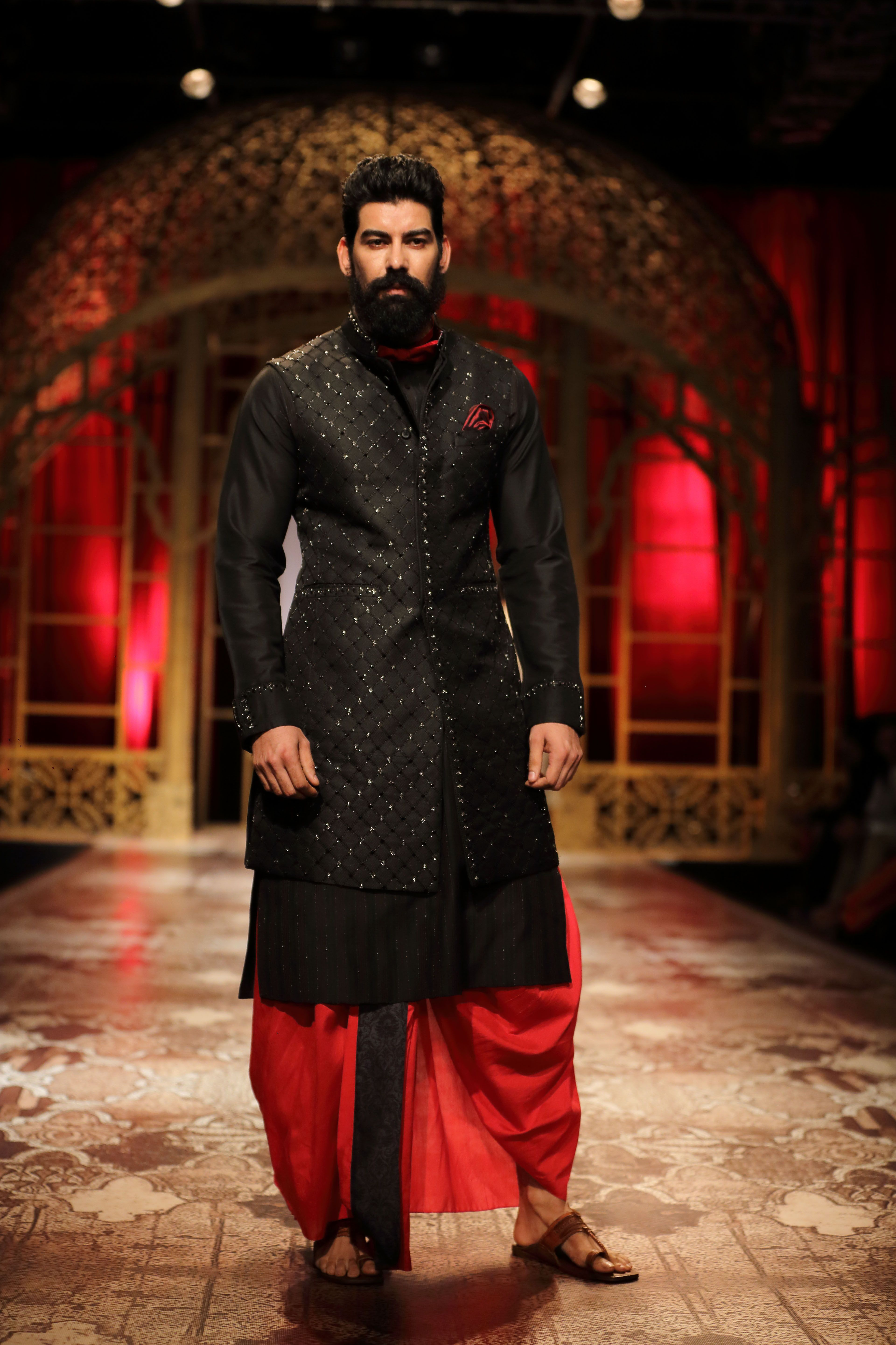 Groom kurta suits black wedding kurta designs asifa and nabeel men - The Classic Dhoti Paired With A Long Bandhgala Jacket And Kurta