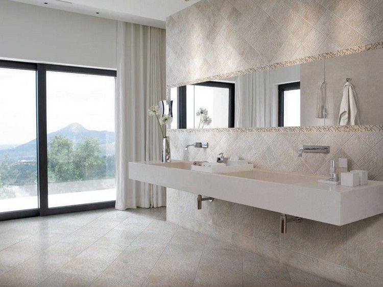 carrelage mural salle de bain beige, lavabo deux bacs, miroir