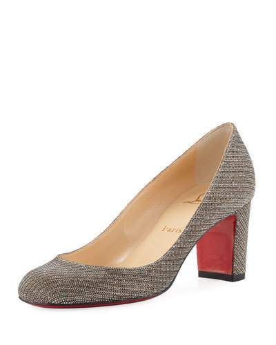 sale retailer fdf84 7958d CHRISTIAN LOUBOUTIN Cadrilla Glitter Block-Heel Red Sole ...