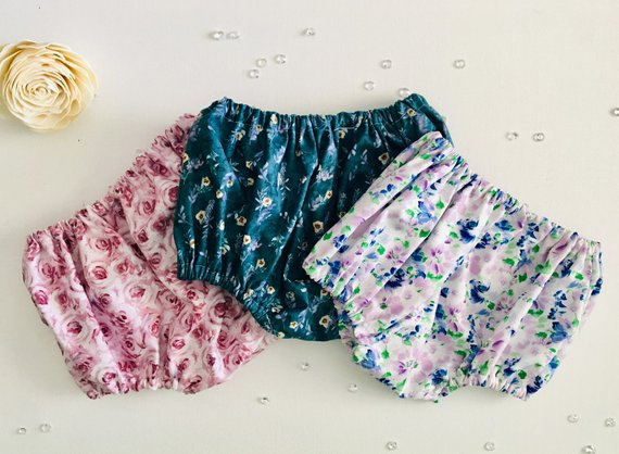 Bloomers for Toddlers Handmade Bloomers for Babies Chambray Floral Baby Bloomers Toddler Shorts Bloomers for girls Blue Baby Shorts