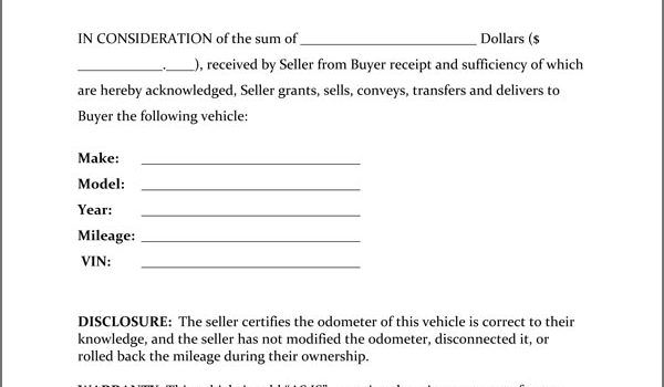 Bill of Sale, Firearm Vehicle Bill of Sale form, dmv auto Bill of - bill of sale sample