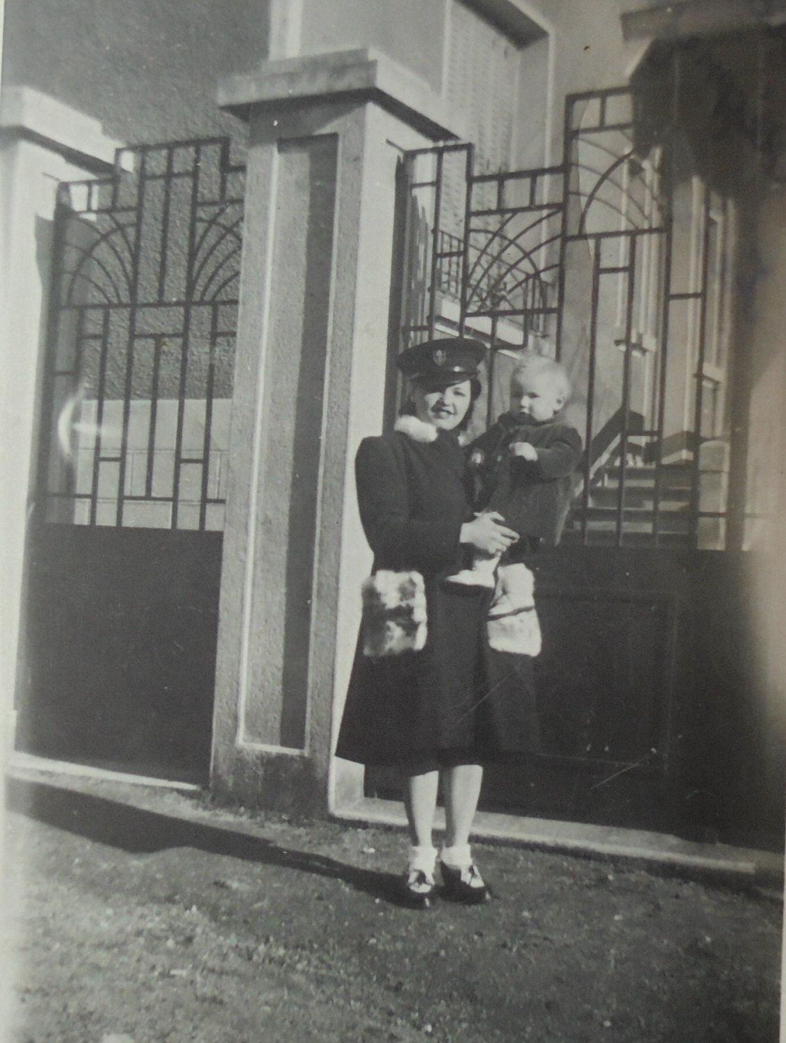 1940's French Photo - Woman Stood Holding a Small Child by ChicEtChoc on Etsy