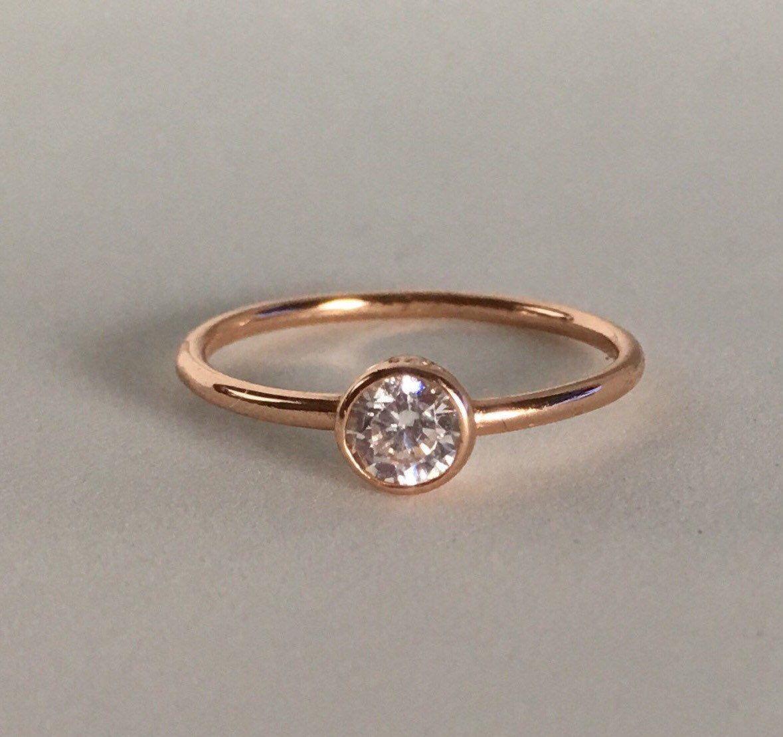 K rose gold round cut solitaire carat diamond engagement ring