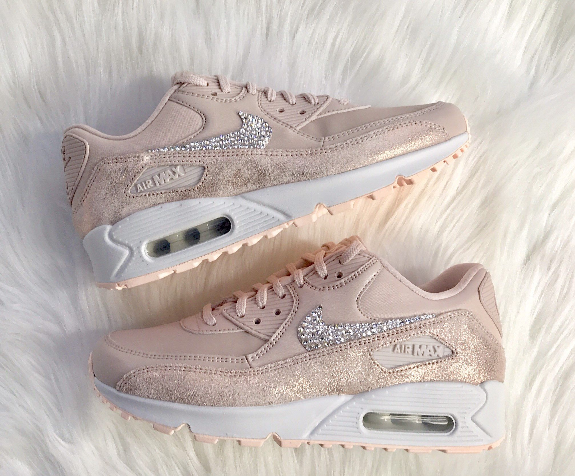 8949910d66 Excited to share this item from my #etsy shop: Swarovski Nike Bling Pink  Air Max 90 bling women's nike shoes