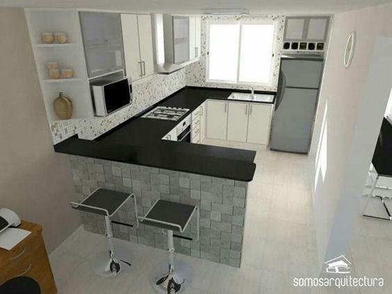 Cocinas peque as modernas 2018 tendencia en decoracion - Disenos de cocinas pequenas y sencillas ...