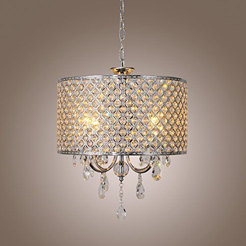 Lightinthebox modern drum chandeliers with 4 lights pendant light with crystal drops in round ceiling