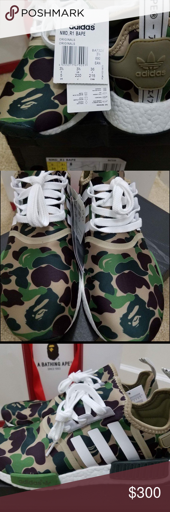 7c161e28ee791 ADIDAS NMD R1 BAPE B7326 US Women s Size 5 Authentic Adidas NMD R1 Green  Camo Bape on US Women s size 5 Adidas Shoes Sneakers