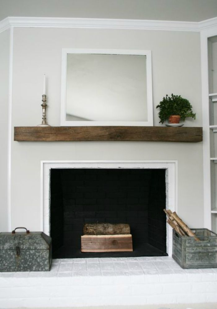 Mantel Shelf Mirror Decor Simple Fireplace Wood Mantels Wood