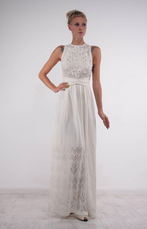 White crochet knit maxi dress