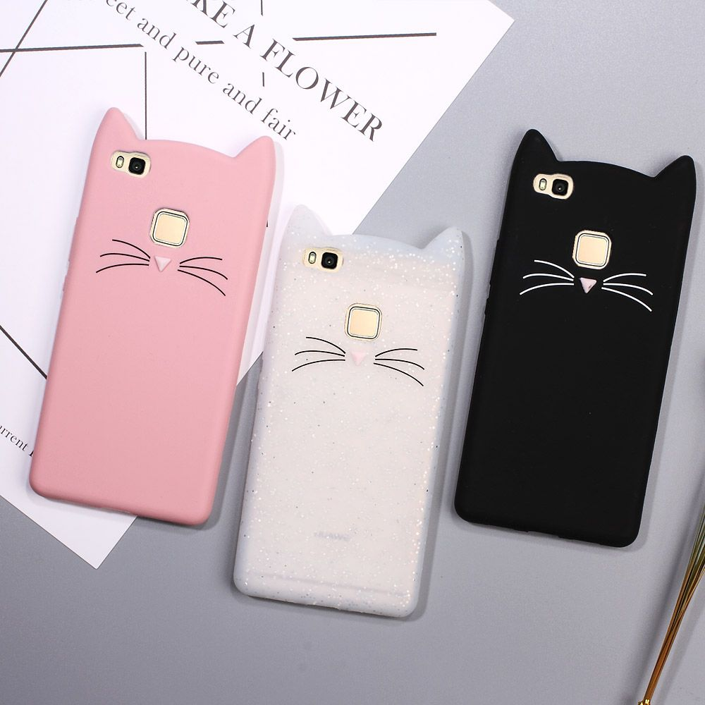 Click to Buy << For Huawei p9 Lite Cover Lovely 3D Moustache Cat ...