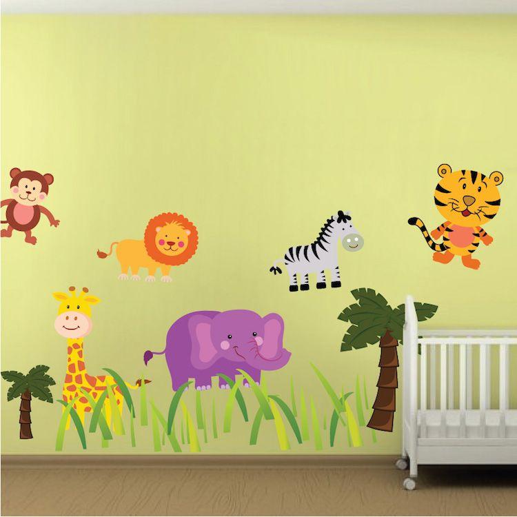 Nursery Zoo Wall Mural Decal Animal Wall Decals Safari Animal Wall Decals Nursery Decals