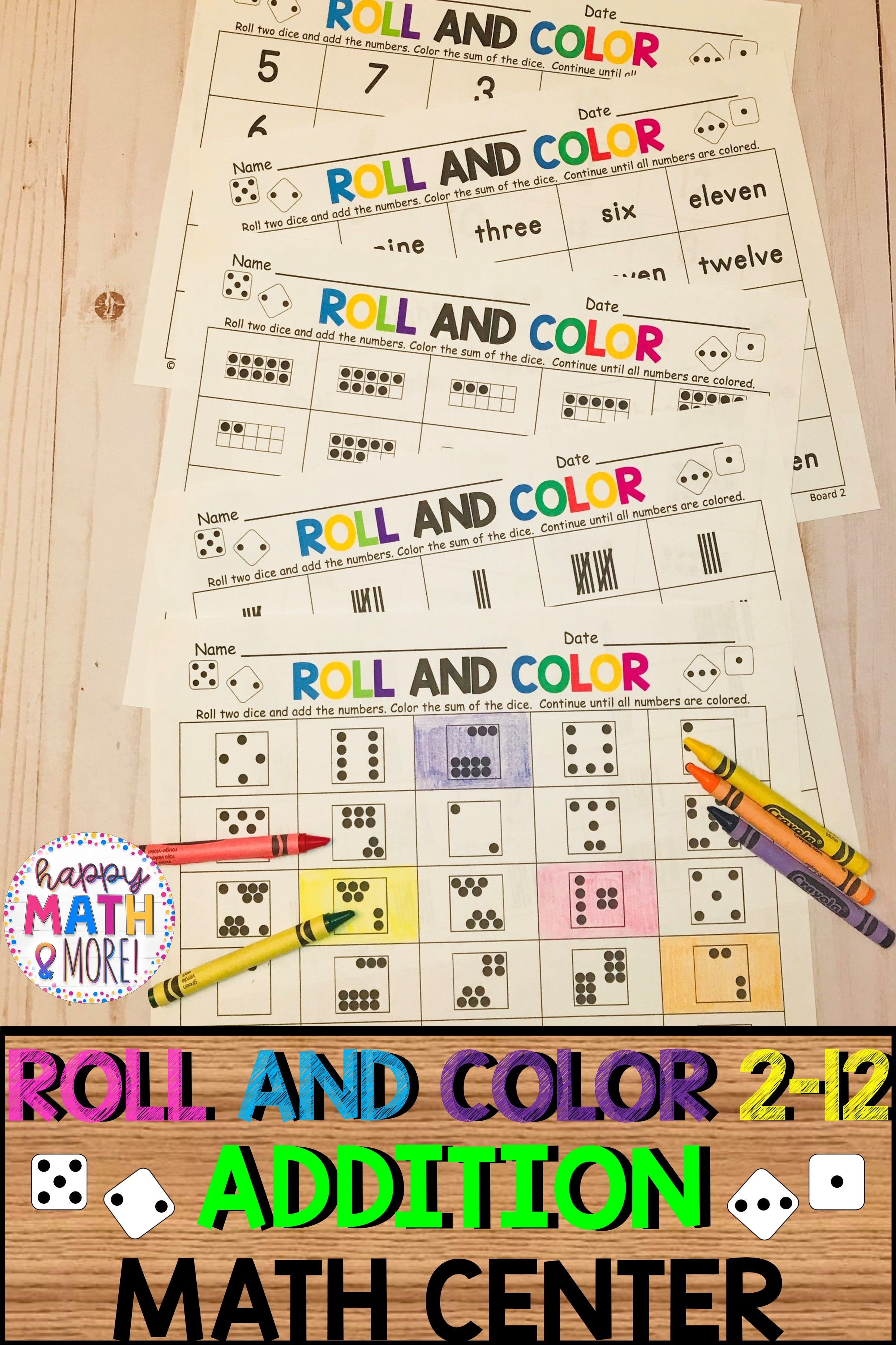 Roll And Color 2 12 Number Sense Addition Math Center