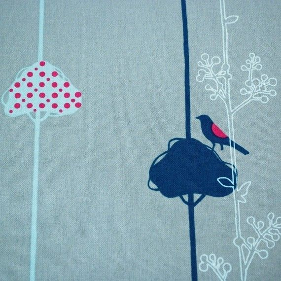 SALE Echino Balance Birds in Steel Blue  Rare OOP by CottonCandyCo, $150.00