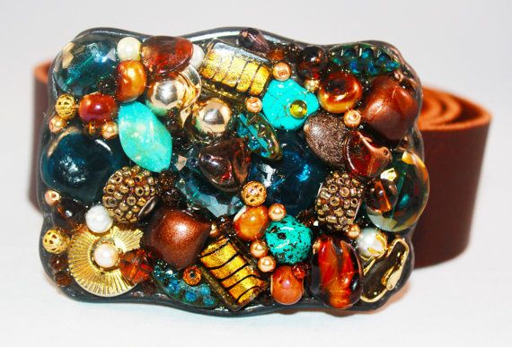 Turquoise and Brown Belt Buckle  Western Belt by EnchantedDooDads, $58.95
