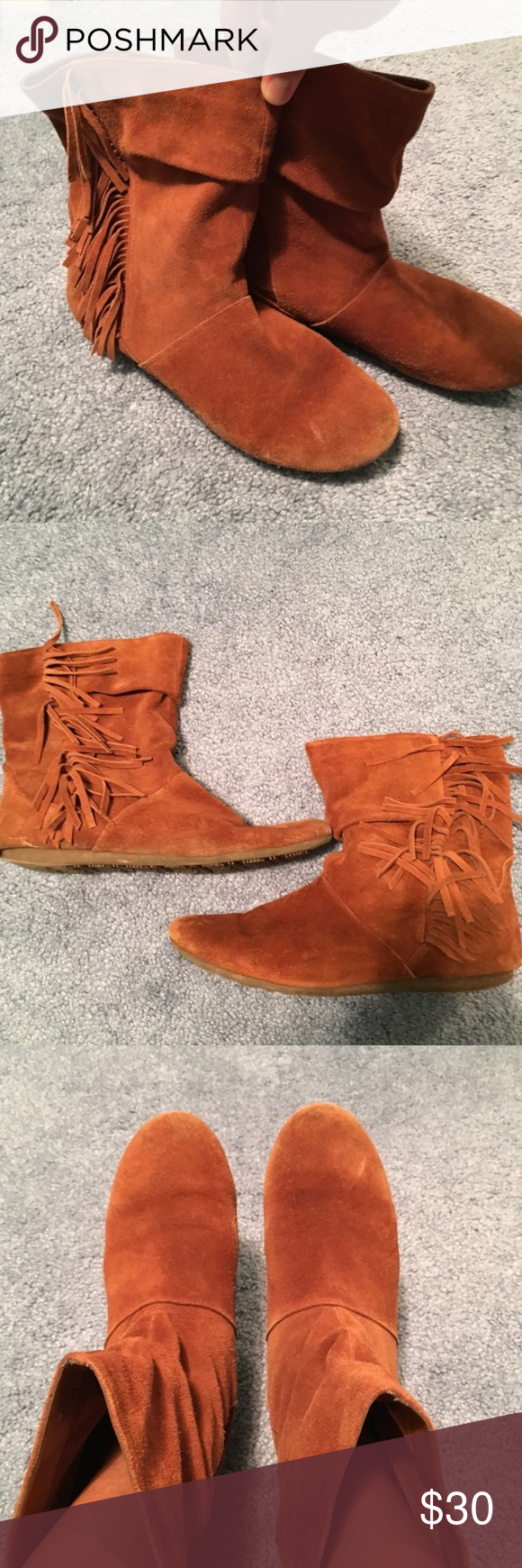 Aldo brown moccasin booties with fringes Cute moccasin booties with a Native American vibe! Has normal signs of wear. I used to love these just don't wear them anymore. Aldo Shoes Ankle Boots & Booties