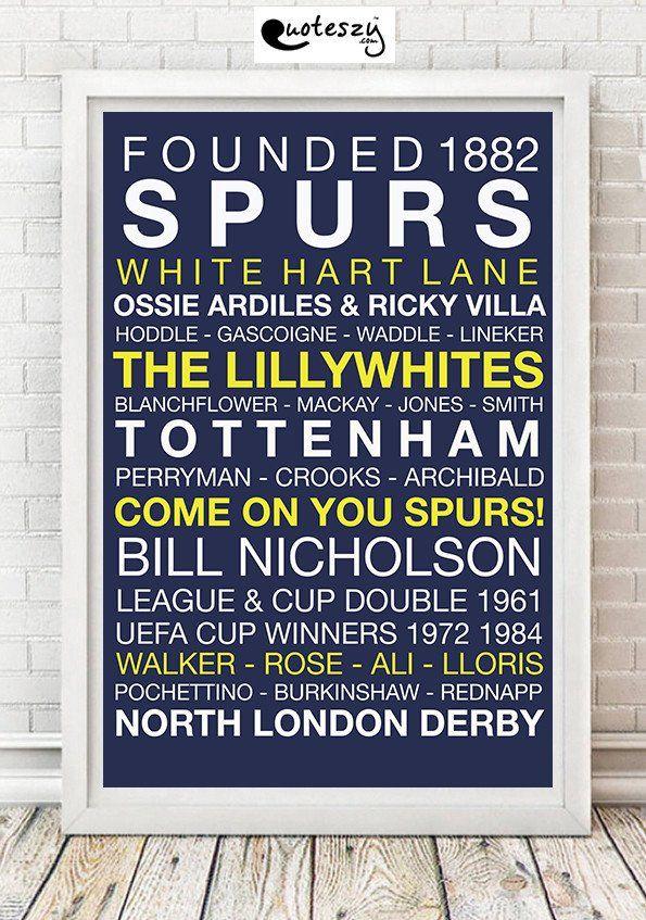 SPURS WORD PRINT (white frame) Football Teams Word Prints - word design frames