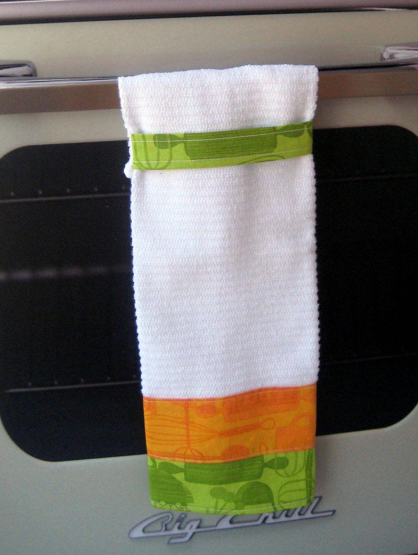 Stay Put Hanging Towel Retro Kitchen Orange Green 10 50 Via