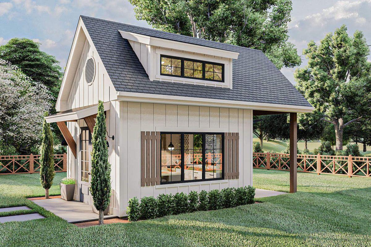 Plan 62925dj Modern Farmhouse Backyard Office Plan With Loft Backyard Office Farmhouse Sheds Backyard Guest Houses