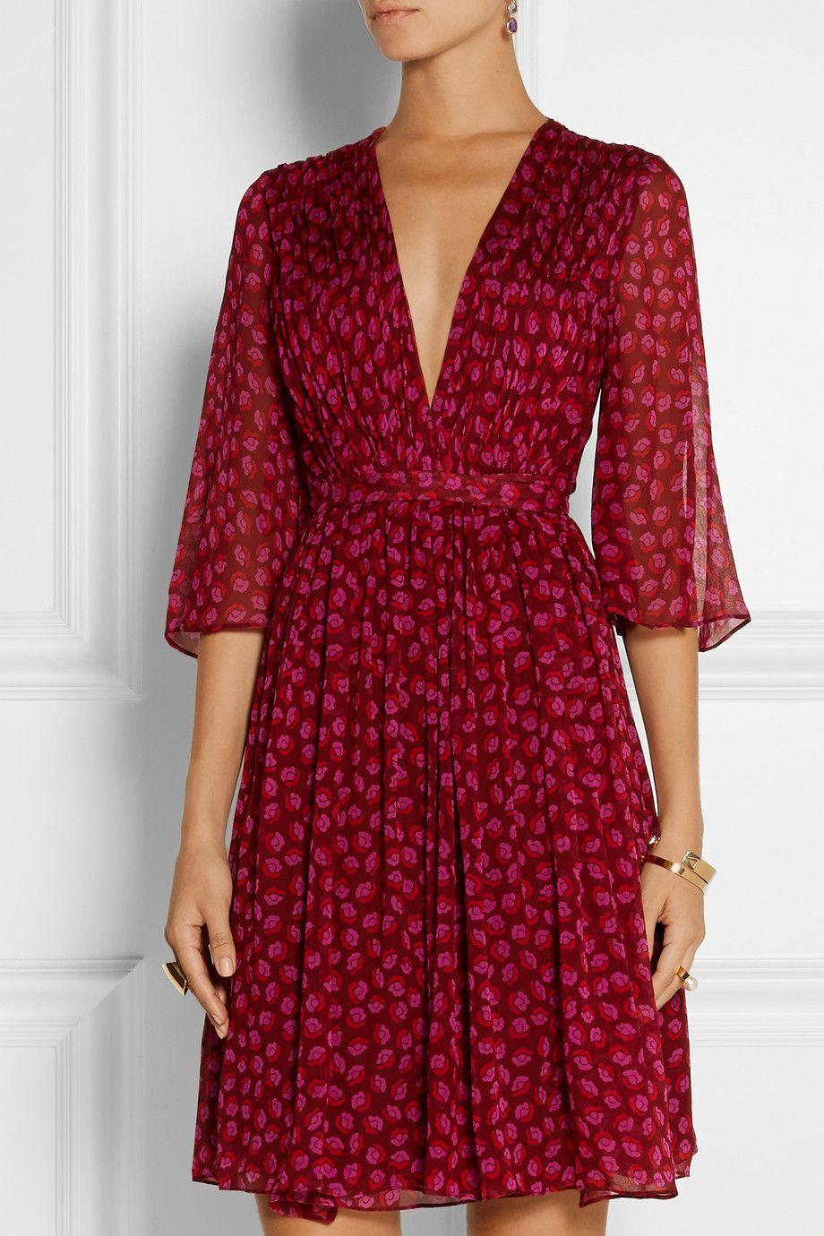 Diane Von Furstenberg Printed Silk Georgette Wrap Dress