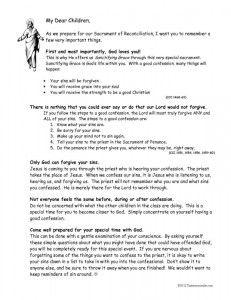 Letter to Children for Reconciliation Preparation | RE board