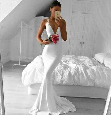 04fd58c9ab1b 49%OFF White Long Prom Dresses 2019 Mermaid V-Neck Sleeveless Sexy –  lolipromdress.com