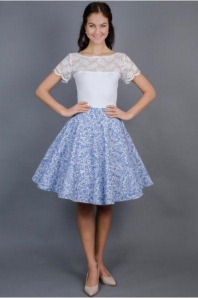ebc36db82455 Kolová sukně modrá porcelánová plně kolová sukně délka 60 cm zip na levé  straně skladem velikost