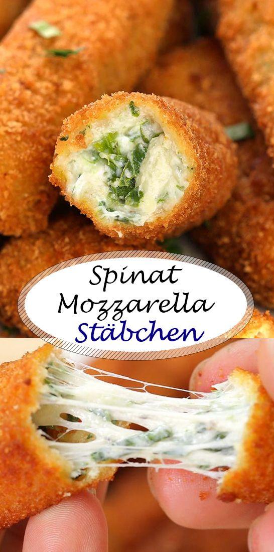 Knusprige Spinat Mozzarella Stäbchen  #vegetariangrilling