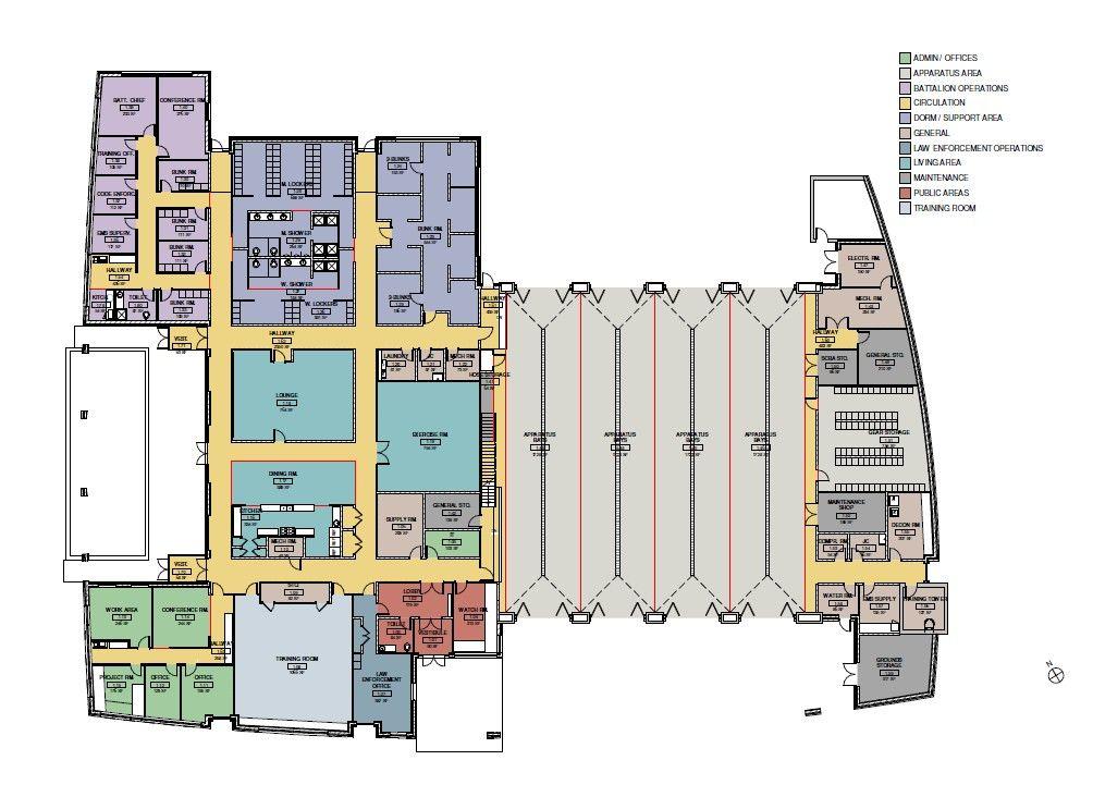 Travilah Fire Station 32 Floor Plan Design Floor Plans Fire Station