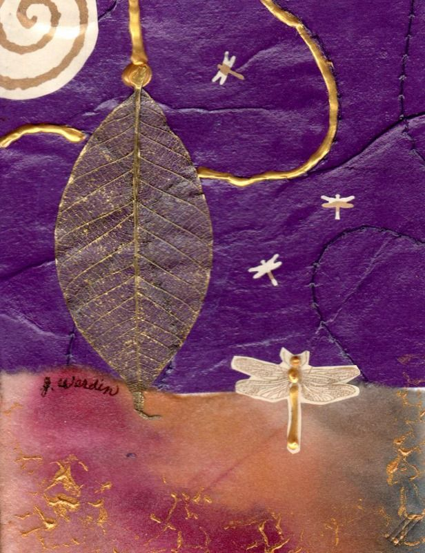 4 X 6 collage using manufactured and hand painted papers and elements with touches of dimensional paint.