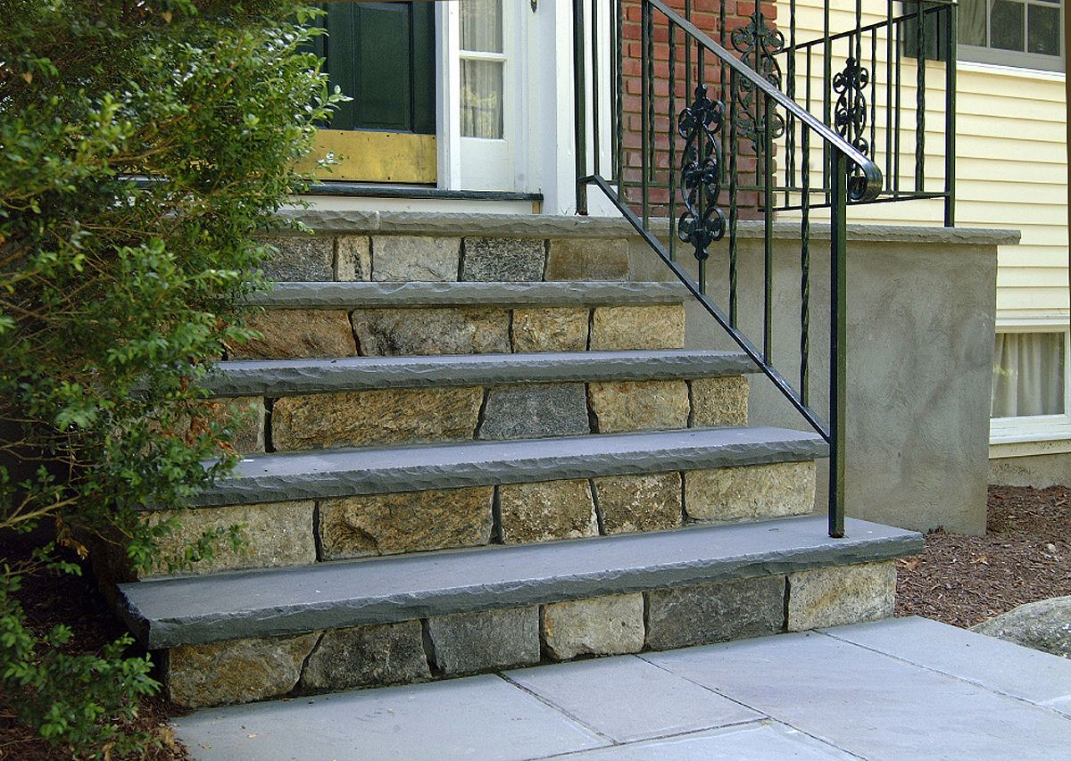 Steps Femia Landscaping Patio Stairs Front Porch Steps Brick | Stone Front Porch Steps Designs | House | Stained Concrete | Round | Stone Walkway | Flagstone
