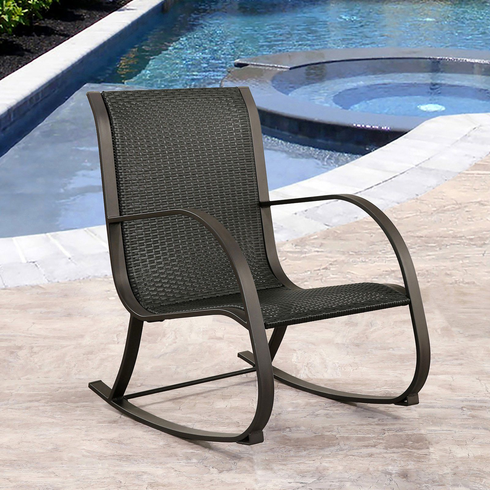 Abbyson Living Kenley Wicker Outdoor Rocking Chair | from hayneedle.com