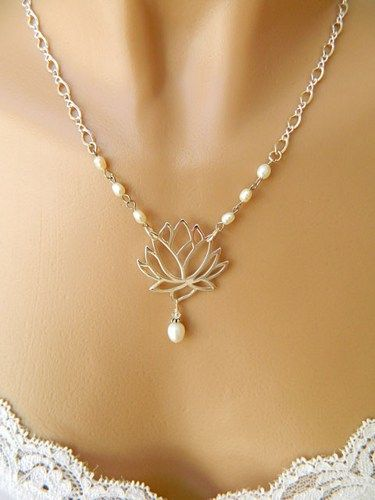 Silver lotus pendant necklace with pearl accent doublesjewelry silver lotus pendant necklace with pearl accent doublesjewelry jewelry on artfire audiocablefo light catalogue