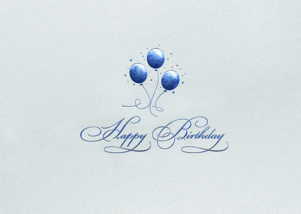 Preview image for product titled blue balloons birthday birthday simply stated a trio of blue foil balloons says it all on shiny silver stock this birthday card is a great choice for business associates and friends colourmoves Images